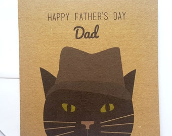 Cat Father's Day Card - Black Cat in Hat Father's Day Card