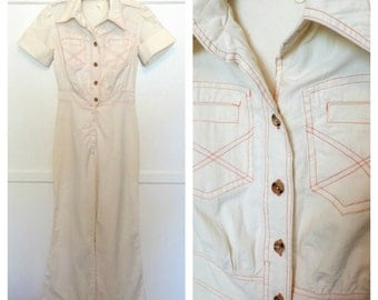 Vintage 70s Cream Linen Jumpsuit with Orange Stitch Detail Flared Leg Charlies Angels One Piece Pantsuit Womens Size Small