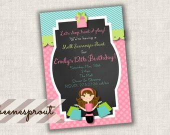Shopping Spree Girl Birthday Invitation