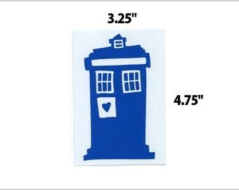 Blue heart phone box drawing vinyl sticker decal