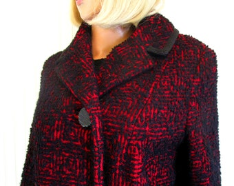 50s M L Monteselli Wool Mohair Boucle Winter Coat Crimson Red Black Atomic Pattern