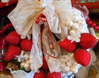 Straw Berries And Lace  Wreath strawberry short cake