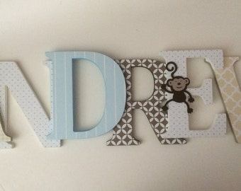 Wooden letters for nursery in tan, brown and sky blue