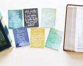 6 Social Justice Scripture Memory Verse 3x4 Watercolor Encouragement Cards Handlettered DIGITAL Download Bible Verse Notecards
