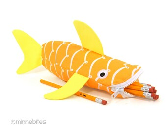 Shark Case by MinneBites / Office Organizer - School Bag - Yellow Pencil Holder - Nautical Desk Accessory - Shark Pencil Case - Ready Ship