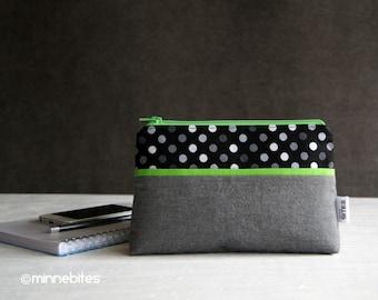 Wristlet Purse - Black Wristlet Wallet - Valentines Gift for Women - Green Zipper Pouch - Purse Wrist Strap - MinnePouch - Ready to Ship
