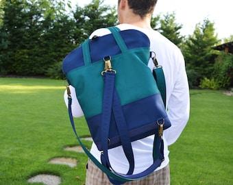 Canvas laptop backpack, functional convertible bag, Unisex tote crossbody bag, Weekender bag, School bag, Messenger macbook shoulder bag