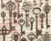 100 pcs - Bride's Special Mix - Skeleton Key Assortment in Antique Bronze - Set of 100 Keys - 25 DIFFERENT STYLES!