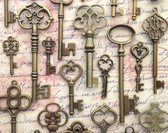 100 pcs - Bride's Special Mix - Skeleton Key Assortment in Antique Bronze - Set of 100 Keys - 25 DIFFERENT STYLES!