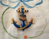 vintage souvenir pin- Atlantic City, anchor, enameled
