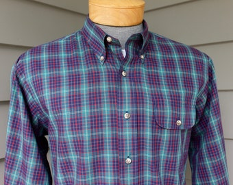 vintage 70's - 80's -Gant- Men's long sleeve 3 button collar shirt. 'College Tartans' Tartan style plaid in bold colors. Large