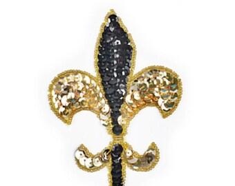 Sequin Fleur De Lis Applique, Mardi Gras Applique, Saints, New Orleans