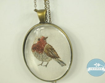 Hand Embroidered Needlepainted Robin Necklace Pendant