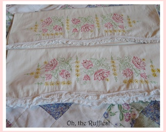 Super Sweet Shabby Pillowcase Set, Vintage, Lots of Bright Flowers ~