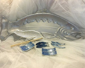 Vintage Large Fish platter, Silver Sushi Fish Platter, Large Fish Sushi Platter, Fish Decor, Beach Decor, Nautical decor