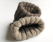Reversible Ribbing Knitted Warm Boot Cuffs - Hand Knit Melange Bulky Boot Toppers, Leg Warmers - Natural Organic Undyed Thick Wool Yarn