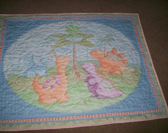 Dinosaur Baby Quilt in Pastel Colors