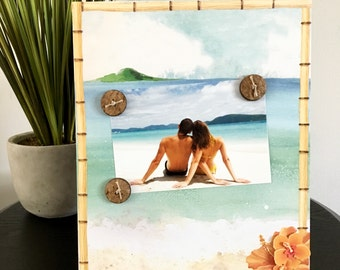 Beach Picture Frame Magnetic Gift Home Decor Photo 5 x 7 Tropical Honeymoon Bridal Shower Bride Wedding gift Family -Tahiti Beach Tropical