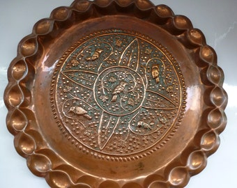Vintage Solid Copper Wall Hanging Beautiful Solid Copper Round Wall Hanging with Repousse Pattern