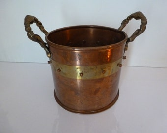 Copper and Brass Pot Vintage Copper and Brass Pot with 2 Handles Vintage Copper and Brass Pot