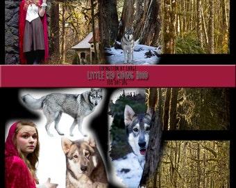 11 Little Red Riding Hood Collage Images 1 INSTANT Digital Download Scrapbook Printable-JPG