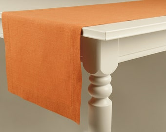 Rust linen table runner Handmade table linens with deep hems and mitered corners Custom table linens