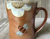 Handmade Mug with Bees and Flowers, Cup with Handle