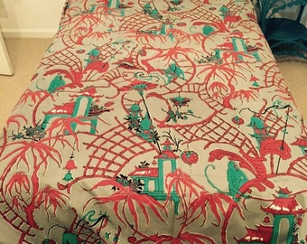 Chinoiserrie fabric bed cover