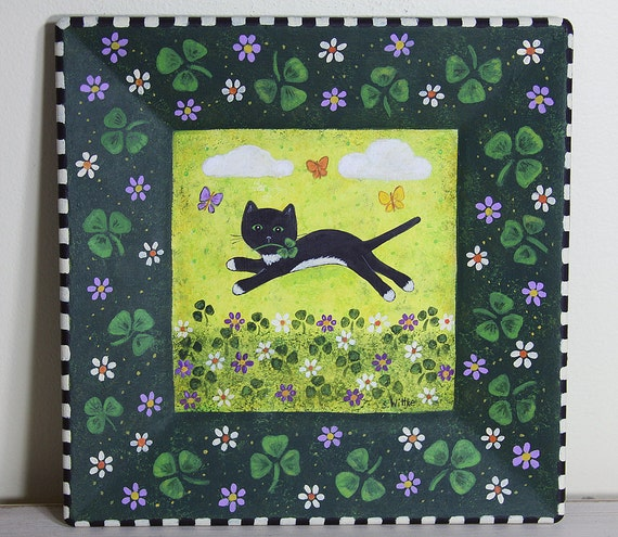 St Patrick's Day Folk Art Hand Painted Square Wooden Plate - READY TO SHIP - Black Cat, Butterflies in Field of Shamrocks and Spring Blooms