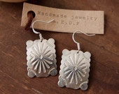 RCE-06, Free U.S. shipping Repurposed vintage stamped concho earrings