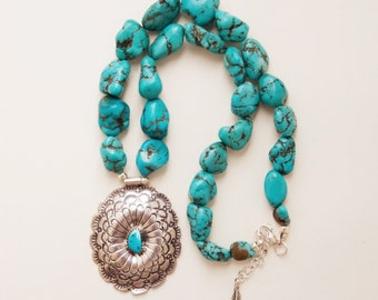 RVC-29, repurposed vintage sterling silver concho & chunky turquoise necklace