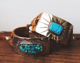 CBC-12, handmade adjustable repurposed vintage silver and turquoise concho cuff bracelet