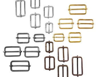 20 pcs Metal sliding bar adjuster buckles - 21mm, 26mm, 30mm, 36mm, 41mm