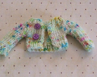 Ooak Blythe Doll Hand Dyed White Confetti Superwash Wool Yarn Hand Knit Sweater Aqua Blue Yellow Spring Green Hot Pink Lavender Buttons