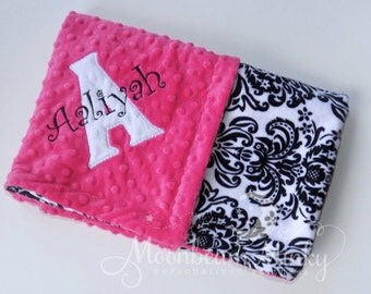Minky Baby Blanket -  Hot Pink with Black and White Damask - Personalized custom Monogrammed