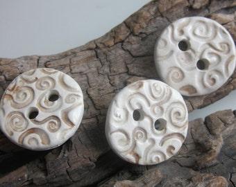 3 Medium Brown Spiral Texture Buttons