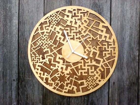 Ethnographic SignsWALL CLOCK 15.7Diameter ModernLaser