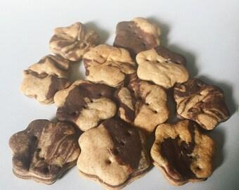 Mini Crunchy Zebra Stripe Blossoms - Peanut Butter Carob - Dog Treats - Mini cookies for dogs - 4 dozen treats