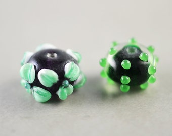 Green And Purple Beads, Lampwork Glass, Flower Beads, Polka Dot Beads, Two