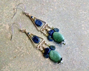 Jade lapis earrings, silver jade lapis long chandelier bohemian gypsy earrings