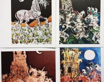 Batik Unicorn cards  -   Unicorns Take Castle, Unicorn flower field, Unicorns rise to Moon, Unicorns rise from Dreams -  4 blank art cards
