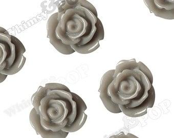 10 - Large Gray Multi-Petal Rose Cabochons, Flower Cabochons, Flower Cabs, 19mm Roses (C1-36)