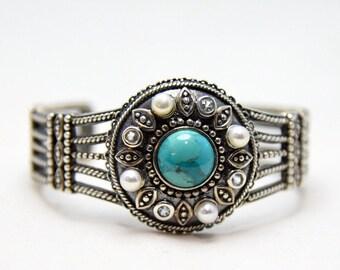 Modern Southwest Cast Sterling Silver Turquoise, Aquamarine & Pearl cuff bracelet
