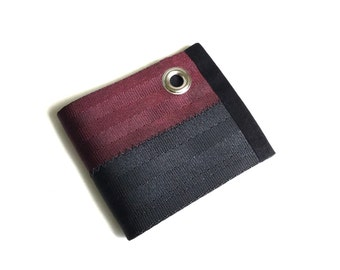 Chain Wallet with Grommet - Black and Oxblood Velcro Wallet - Vegan