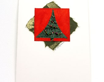 Mixed Media Greeting Card, Holiday Tree, Green Red Beaded