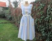 Cotton Dress Vintage / Cotton Dress Pockets / White / Blue / Yellow / Size EUR48  / UK20 / Elactic Waist / Dress Stripes