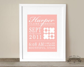 Baby Mod FLowers, Statistics, Birth Details, Custom Art Print, Room Decor, 8x10 Print, Flowers