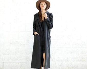 Summer SALE Maxi Coat- long black coat-black