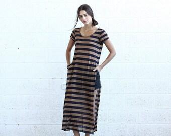 Final Summer Sale SALE! Striped Maxi T-shirt dress, Black&Brown