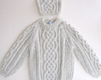 Salt & Pepper Irish Fisherman (Aran) Sweater ~ Size 4
